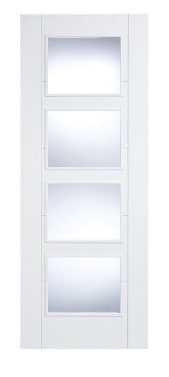 LPD Internal Vancouver White 4 Light Clear Glass Door