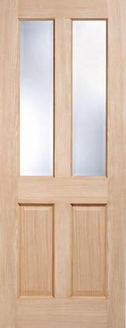 LPD Internal Oak Richmond with Clear Bevelled Glass Non-Raised Mouldings Door