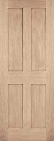 LPD Internal Oak London 4 Panel Unfinished Fire Door