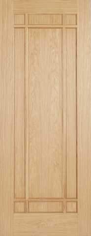 LPD Internal Prefinished Oak Lyon 9 Panel Fire Door