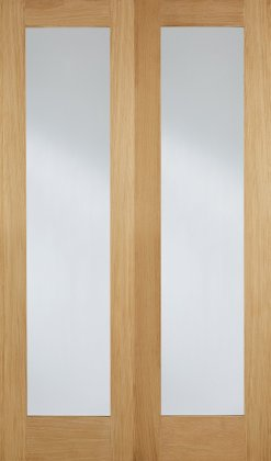 LPD Internal Oak Pattern 20 with Clear Glazed Door Pair