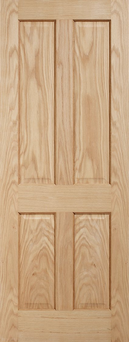 LPD Internal Oak Regency 4 Panel Non-Raised Mouldings Fire Door