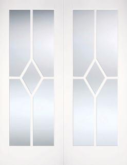 LPD Internal Reims Bevelled Glazed Prime Plus Door Pair
