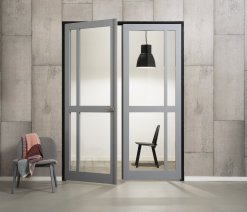 Weekamp Doors Internal Industrial Style 4 Panel Glazed Black Door with 95mm Stiles - Left Handed Version