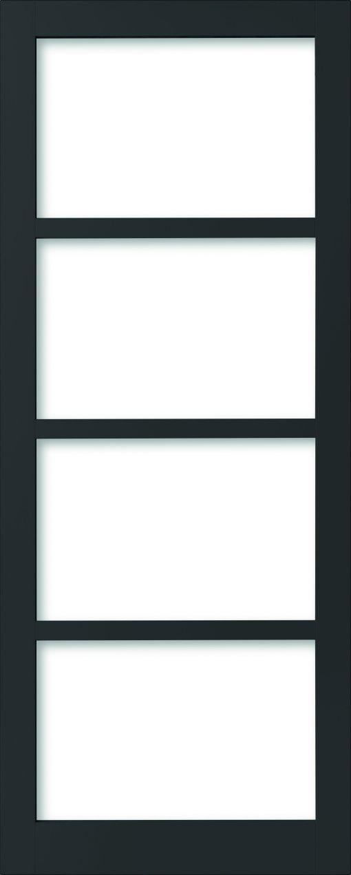 Weekamp Doors Internal Industrial Style 4 Panel Glazed Black Door with 95mm Stiles