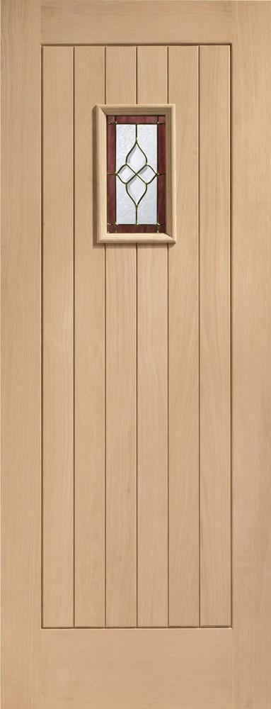 XL Joinery External Oak Chancery Onyx Glazed Door With Brass Caming