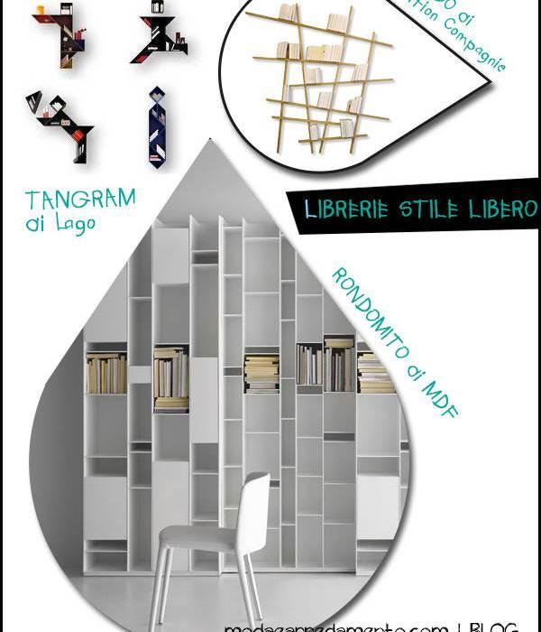 """Librerie #2, il mobile libreria a """"stile libero""""."""