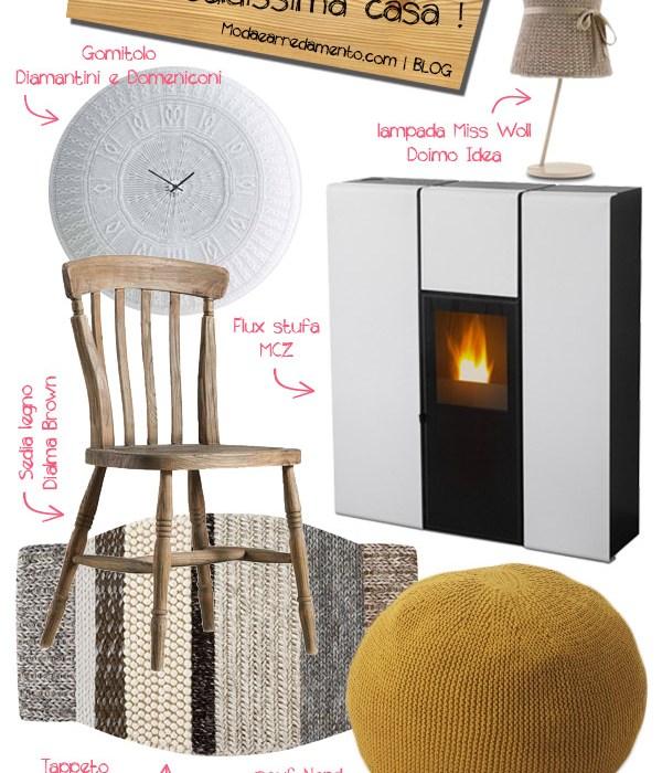 Caldo in casa, mobili e oggetti per arredare casa con la lana.