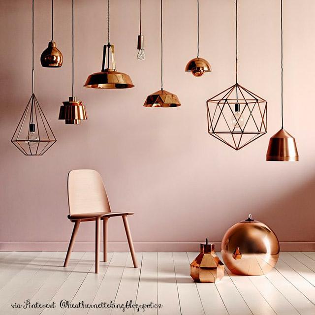 lampade in rame copper con sedia muuto colore rosa