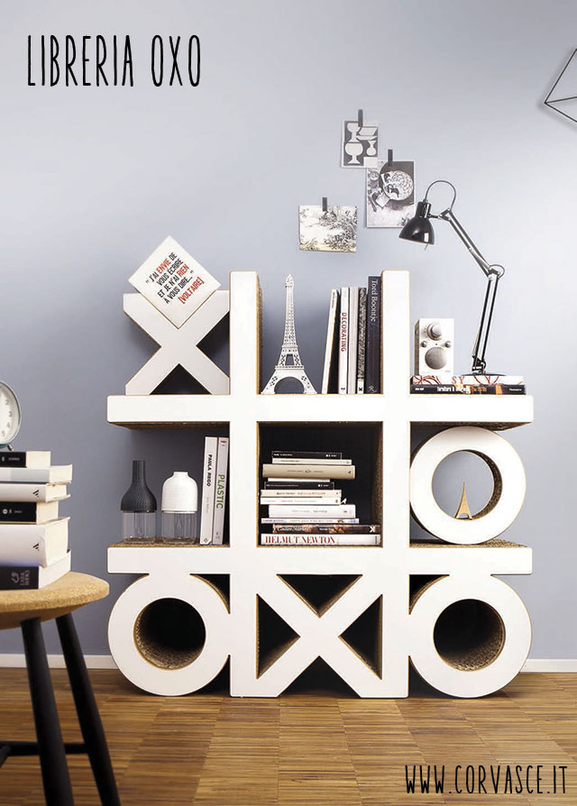 mobili in cartone Corvasce libreria Oxo.