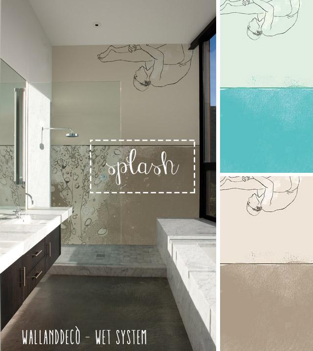Wet system di WallandDecò per mettere la carta da parati in bagno - immagine del modello Splash.