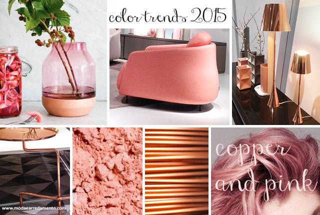 Color trends 2015 per l'arredo sono i colori copper e pink uniti.