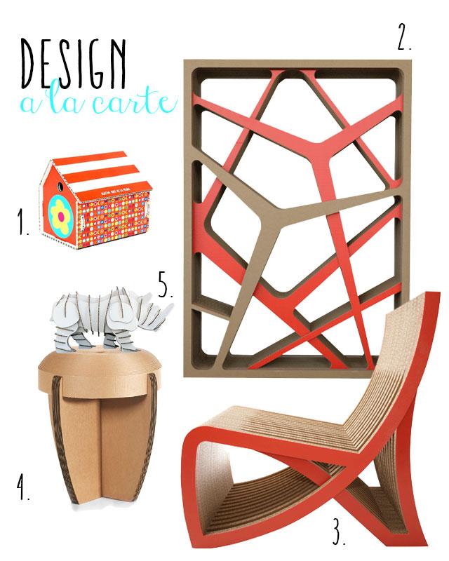 Immagini di arredi, mobili, pouf e libreria in cartone.