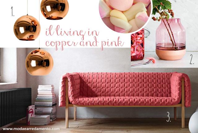 Tendenze colori living 2015: Copper e Pink.