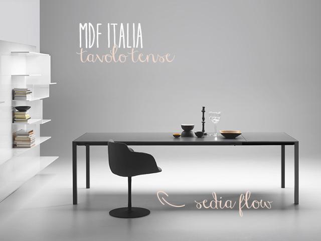MDF italia tavolo tense e sedia flow nero immagine.