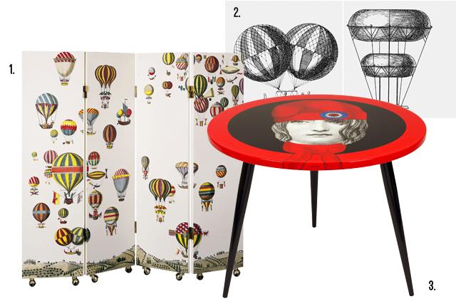 Fonasetti tavolino da soggiorno e paravento mongolfiere.