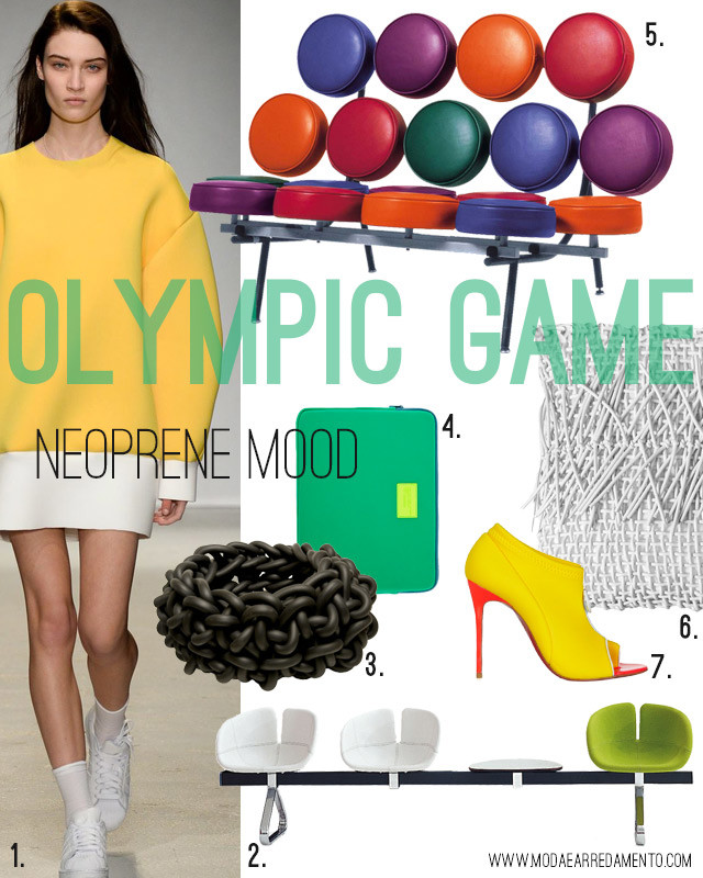 Moadboard Neoprene mood - www.modaearredamento.com inspiration from Olympic game.