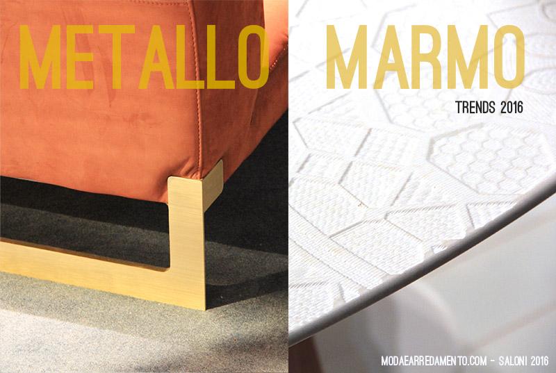 Visto al salone del mobile 2016: metallo effetto ottone e marmo.