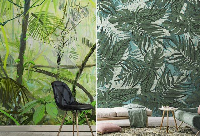 Home Trends 2017 wallpeper tropicali, carte da parati con maxi stampa di foglie tropicali.