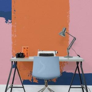 Wallpaper collezione Lifesyle modello Bright, colori accesi a contrasto: blu, arancio e rosa antico.