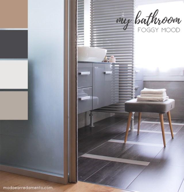 bagno moderno con piastrelle grigio cemento.