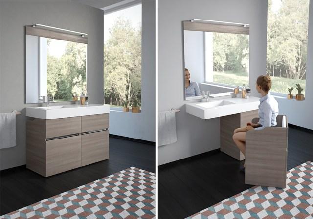 New Age di GoMan, mobile da bagno componibile e con poltrona estraibile - finitura essenza.