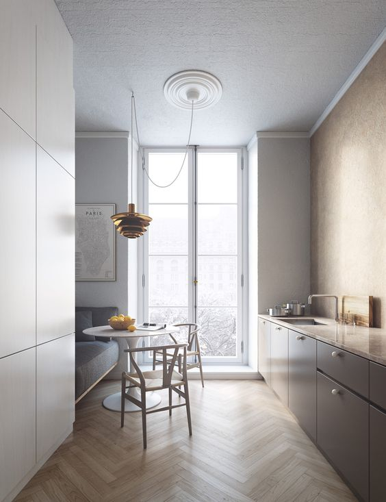 Plain interioris - kitchen wood and white.