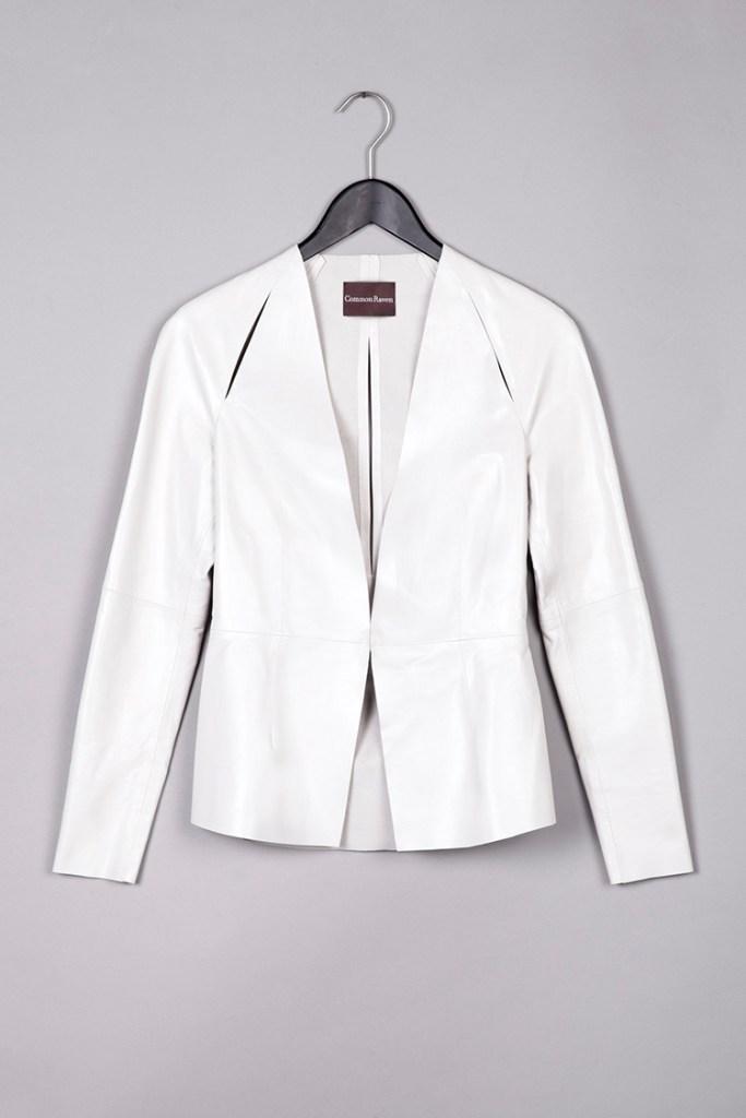 cream leather jacket by Common Raven on www.modagrid.com