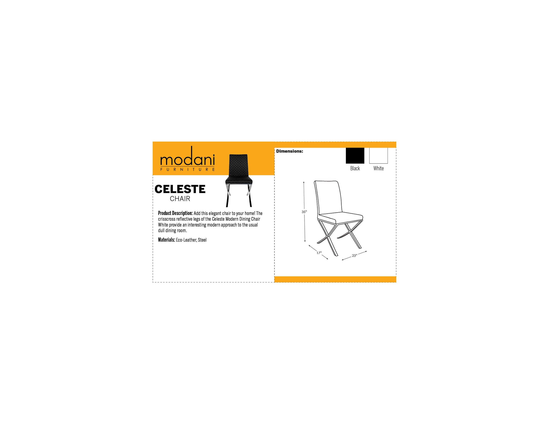 Celeste Modern Black Dining Chair With Crisscross Metal Legs