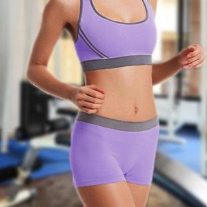 Lavender Two-piece Gym Suits Sports Bra & Shorts Co-ord