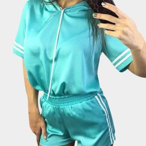 Active Casual Quick-drying Top & Bodycon Shorts Tracksuit in Light Blue