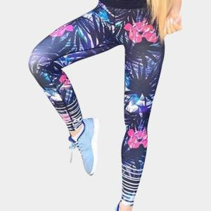 Active Abstract Floral Print Quick Drying Sports Leggings