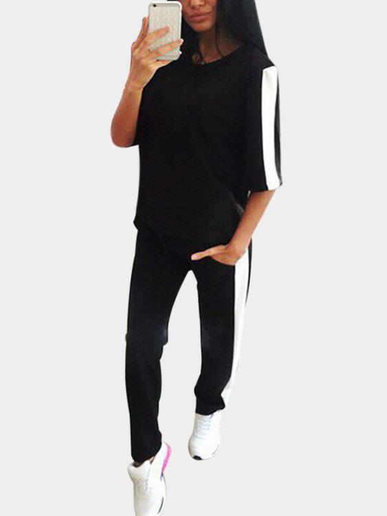 Active Contrast Color Stitching Elastic Tracksuit in Black