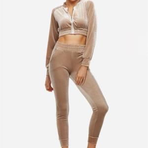 Active Cut Out Zip Design Elastic Tracksuit in Apricot