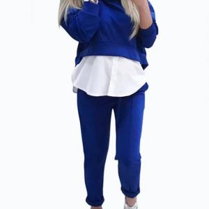 Active Crop Top & Middle Waisted Leggings in Blue