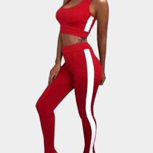 Active Contract Color Sleeveless Tracksuit in Red