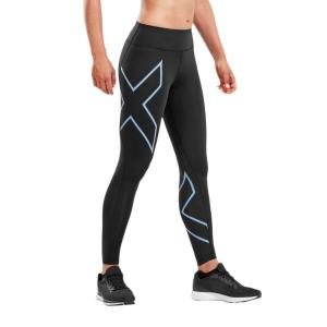 2XU Bonded Mid-Rise Womens Compression Tights – Black/Silver Lake Blue