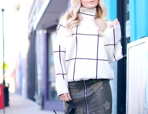 Alena Gidenko of modaprints.com styles her favorite green faux leather star skirt