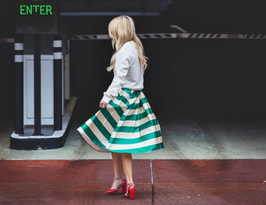 Alena Gidenko of modaprints.com styles a flare striped skirt for the Holidays