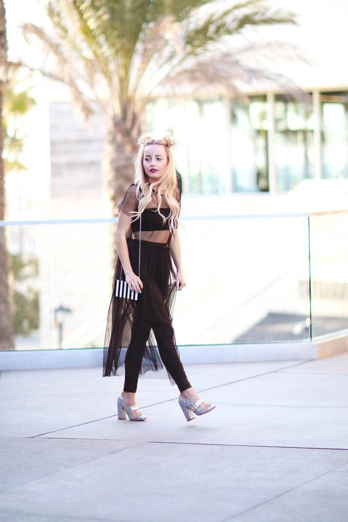 Alena Gidenko of modaprints.com styles a black tulle sheer dress