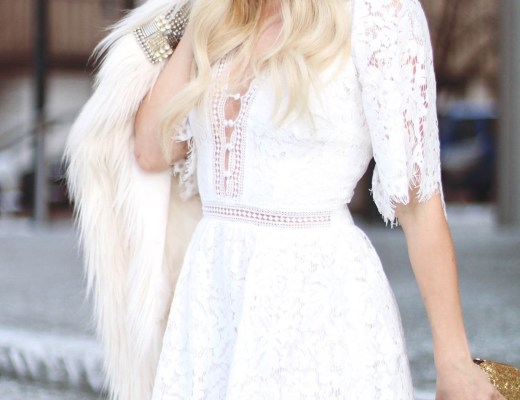 Alena Gidenko of modaprints.com styles a white lace romper for a Valentines dinner
