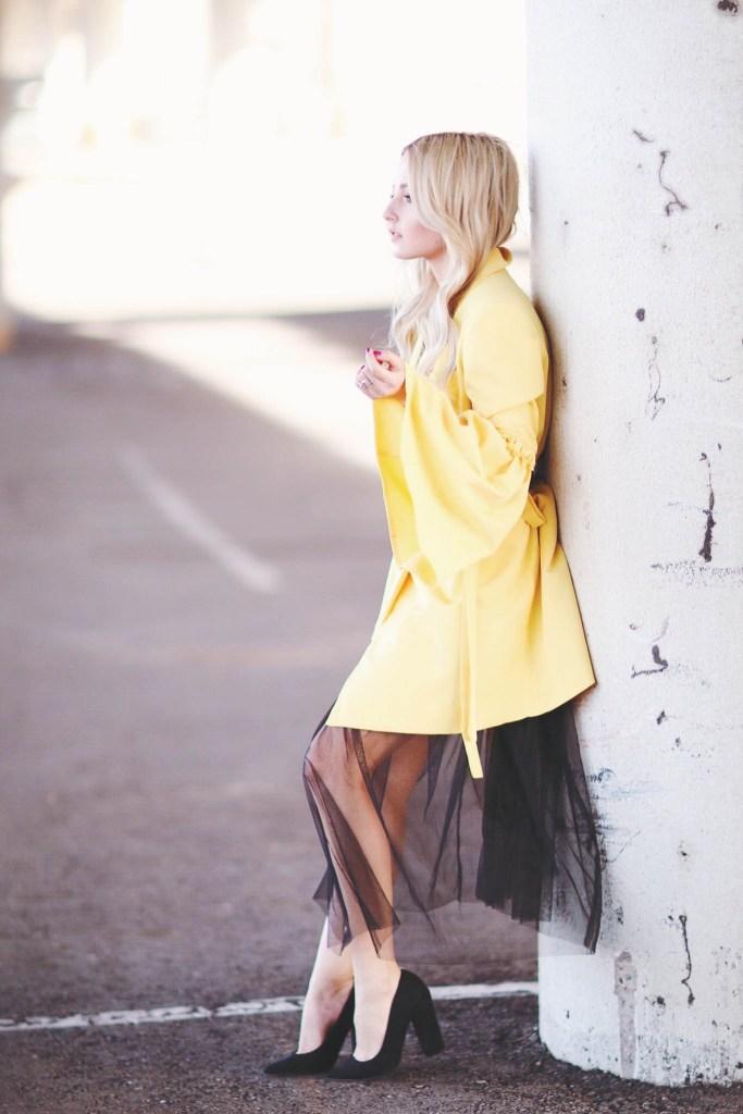 Alena Gidenko of modaprints.com sharing tips on styling a yellow coat
