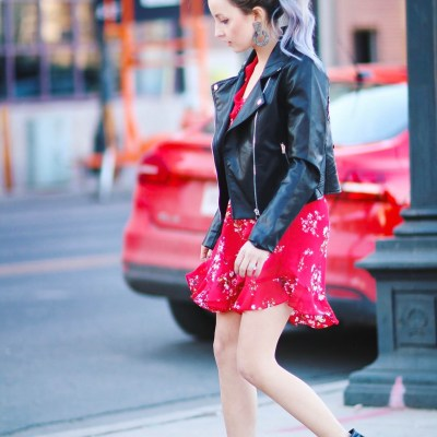BLACK FAUX LEATHER EMBROIDERED JACKET