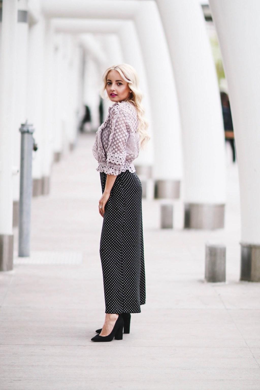 Alena Gidenko of modaprints.com styles polka dot trousers