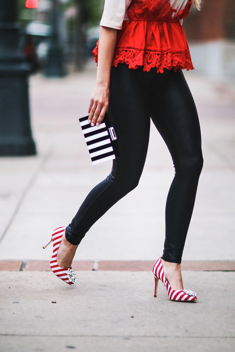 Alena Gidenko of modaprints.com styles a lace cream and red top with black spanx and striped heels