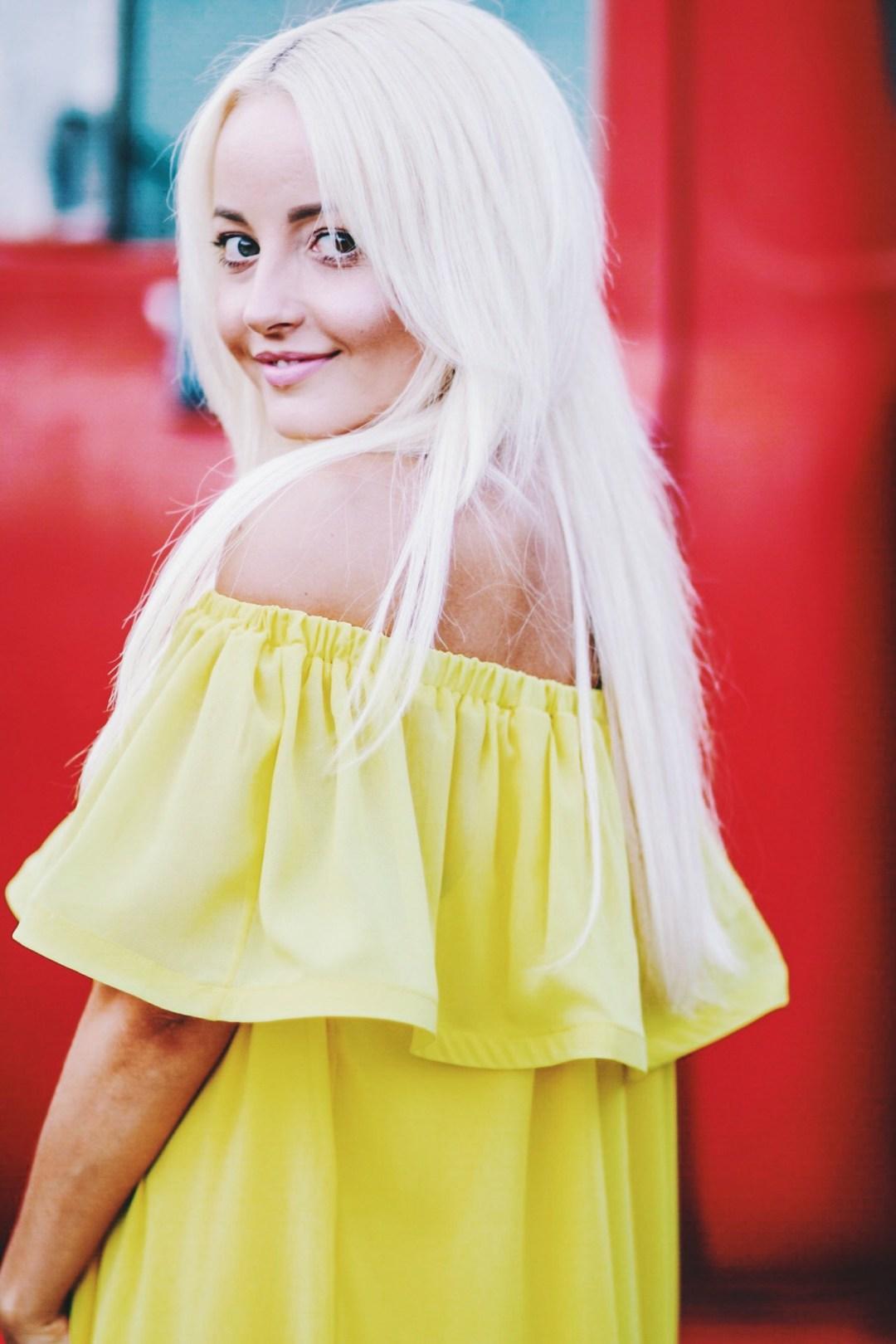 Alena Gidenko of modaprints.com shares an off the shoulder yellow dress for Summer