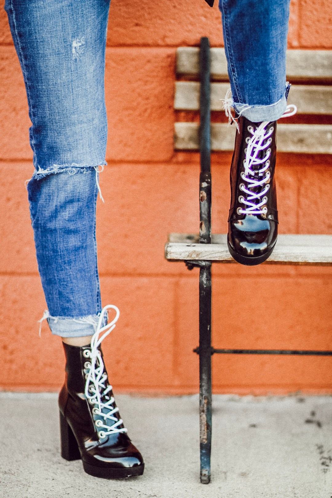 Alena Gidenko of modaprints.com shares her favorite black lace up booties for Fall and Winter