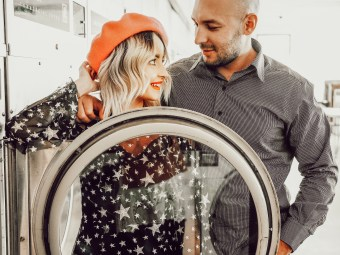 Alena Gidenko of modaprints.com shares her photoshoot with her hubby for Valentines Day at the Laundry Mat