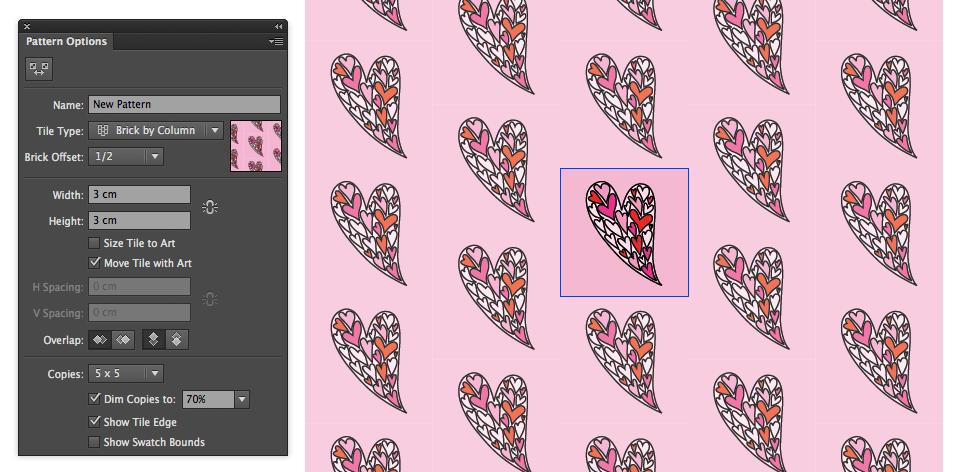 Modarium afbeelding van venster Pattern Options voor half verzet op de nieuwe manier in Illustrator