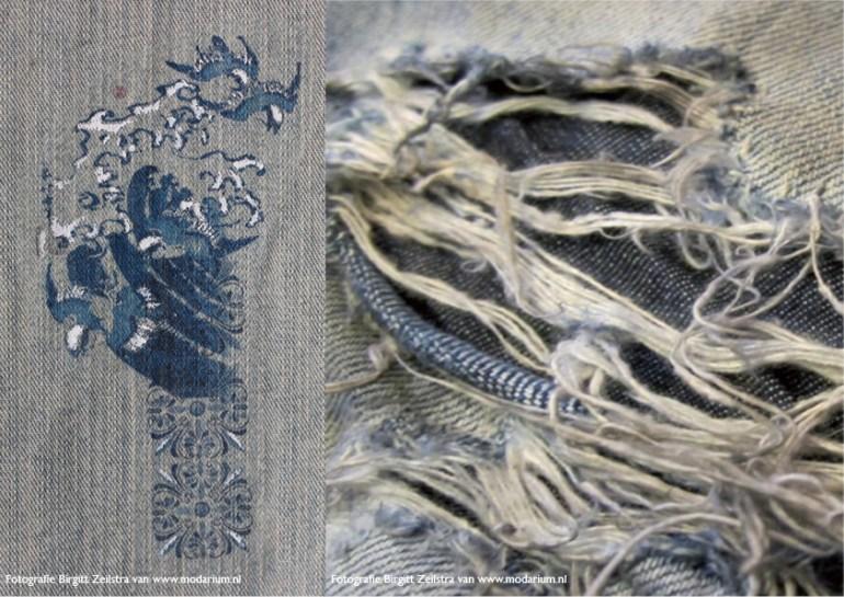afbeelding Modarium moodboard Big Blue Denim 06 door modiste ontworpen en vervaardigde collage bedrukking op oude spijkerbroek en versleten spijkerbroek